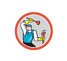 Plumber Holding Wrench Plunger Cartoon Photographic Print