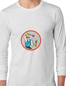 Plumber Holding Wrench Plunger Cartoon Long Sleeve T-Shirt