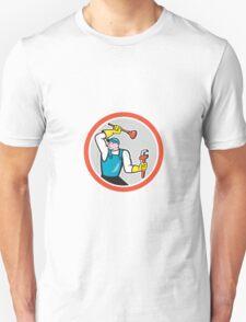 Plumber Holding Wrench Plunger Cartoon T-Shirt