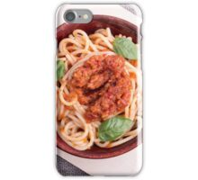 Top view of cooked spaghetti with tomato relish iPhone Case/Skin
