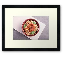 Top view of cooked spaghetti with tomato relish Framed Print