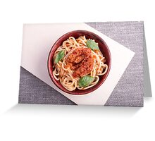 Top view of cooked spaghetti with tomato relish Greeting Card