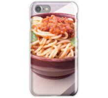 Cooked spaghetti closeup on a wooden stand iPhone Case/Skin