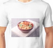 Cooked spaghetti closeup on a wooden stand Unisex T-Shirt