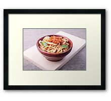 Cooked spaghetti closeup on a wooden stand Framed Print