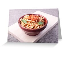 Cooked spaghetti closeup on a wooden stand Greeting Card