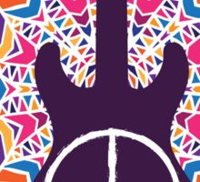 Hippie peace symbol. Peace, love, music sign and guitar on ornate colorful mandala background. Sticker