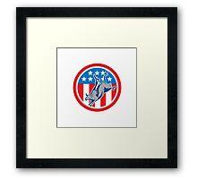 American Rodeo Bull Riding Circle Cartoon Framed Print