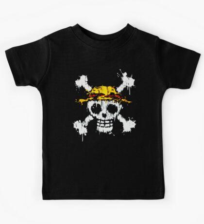 strawhat skull grunge Kids Tee