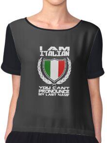 I Am Italian Funny Logo Chiffon Top