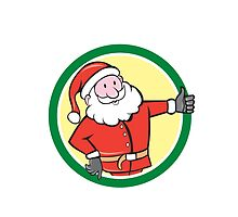 Santa Claus Father Christmas Thumbs Up Circle Cartoon by patrimonio