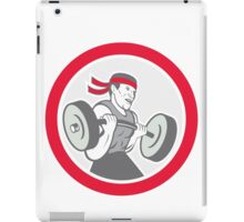 Weightlifter Lifting Barbell Circle Cartoon iPad Case/Skin