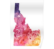 Watercolor Map of Idaho, USA in Orange, Red and Purple - Giclee Print  of my Own Painting Poster