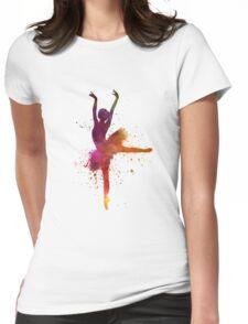 Woman ballerina ballet dancer dancing  Womens Fitted T-Shirt