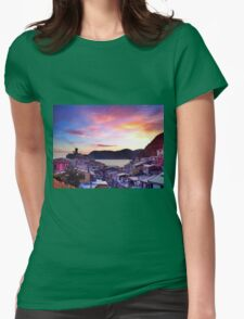 Pink Vernazza Sunset, Cinque Terre Womens Fitted T-Shirt