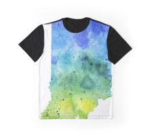 Watercolor Map of Indiana, USA in Blue and Green - Giclee Print of My Own Watercolor Painting Graphic T-Shirt