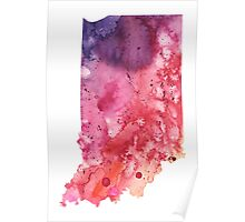 Watercolor Map of Indiana, USA in Orange, Red and Purple - Giclee Print of my Own Painting Poster