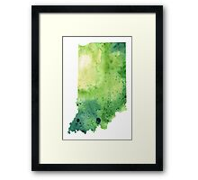 Watercolor Map of Indiana, USA in Green - Giclee Print My Own Watercolor Painting Framed Print
