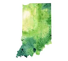 Watercolor Map of Indiana, USA in Green - Giclee Print My Own Watercolor Painting Photographic Print