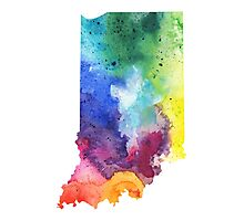 Watercolor Map of Indiana, USA in Rainbow Colors - Giclee Print of My Own Watercolor Painting Photographic Print