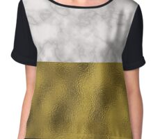 Marble and gold leaf texture Chiffon Top