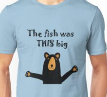 Funny Funky Black Bear with Fish Story Unisex T-Shirt