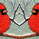 Cardinal Couple, Red Birds in Snow, Winter, Painting, Wildlife by Joyce Geleynse