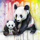Pandas in the Rainbow Watercolor by OlechkaDesign
