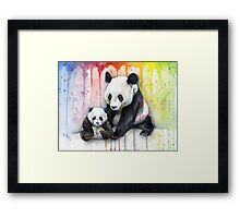 Pandas in the Rainbow Watercolor Framed Print