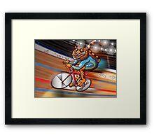 Cycling Tiger Riding a Racing Bicycle Framed Print
