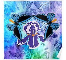 Birdwing Butterfly on Iris Poster