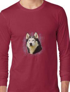 Siberian Husky Dog Water Color Art Painting Long Sleeve T-Shirt