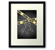 An outline of a person on a street. Murder? Suicide? An accident? Framed Print