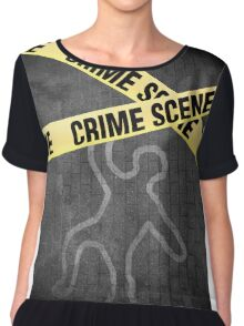An outline of a person on a street. Murder? Suicide? An accident? Chiffon Top