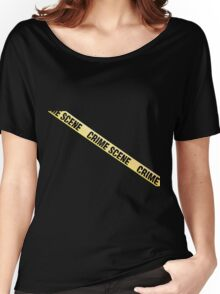 Crime scene ribbon cut out. Transparent background.  Women's Relaxed Fit T-Shirt