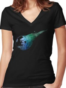 Final Fantasy VII logo universe Women's Fitted V-Neck T-Shirt