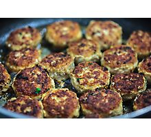 Meatballs cooking Photographic Print