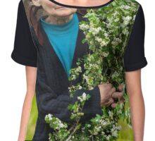 Old woman picking hawthorn flowers Chiffon Top