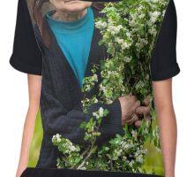 Old woman picking hawthorn flowers Chiffon Top