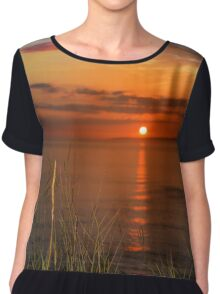 sunset over loop head with wild thistles Chiffon Top