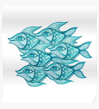 blue fishes Poster