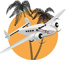 Cartoon retro airplane Photographic Print
