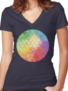 Rainbow Watercolor Moroccan Pattern Women's Fitted V-Neck T-Shirt