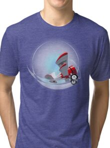 Cartoon Biplane Tri-blend T-Shirt