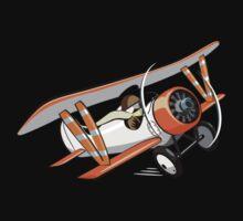 Cartoon Biplane One Piece - Long Sleeve