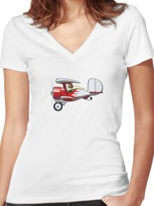 Cartoon Biplane Women's Fitted V-Neck T-Shirt