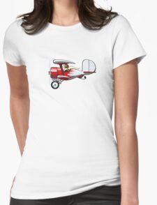 Cartoon Biplane Womens Fitted T-Shirt
