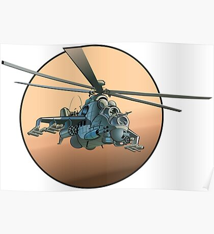 Cartoon Military Helicopter Poster