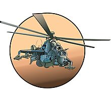 Cartoon Military Helicopter Photographic Print