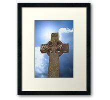 sunshine over celtic cross at ancient graveyard Framed Print